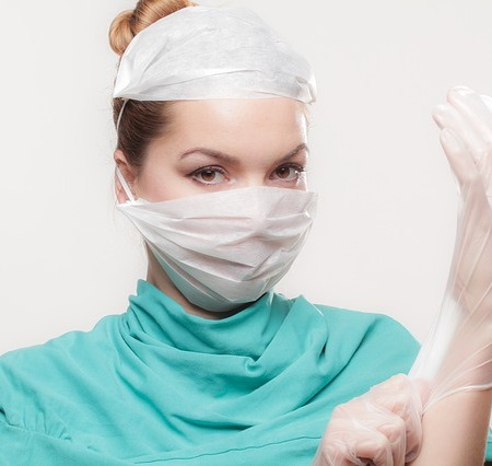 Female doctor with gloves