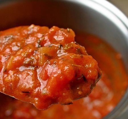 Tomato sauce on a spoon