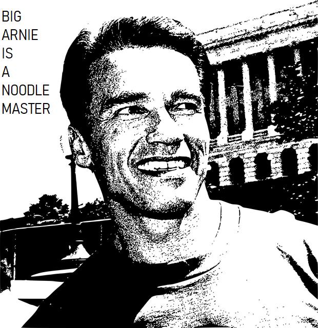 Arnold Schwarzenegger smiling happily