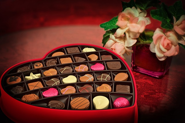 Romantic chocolates of love