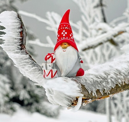 Santa Claus model in the snow