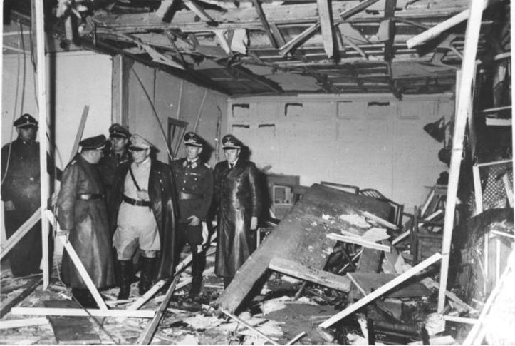Bomb explosion aftermath on assassination attempt with Hitler