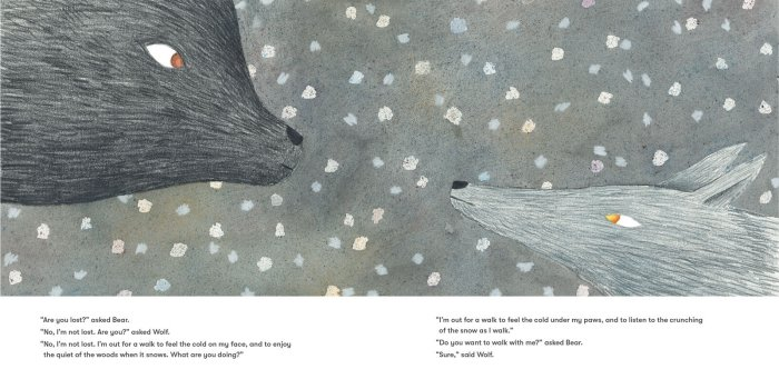 Bear and Wolf talking in Daniel Salmieri's picture book