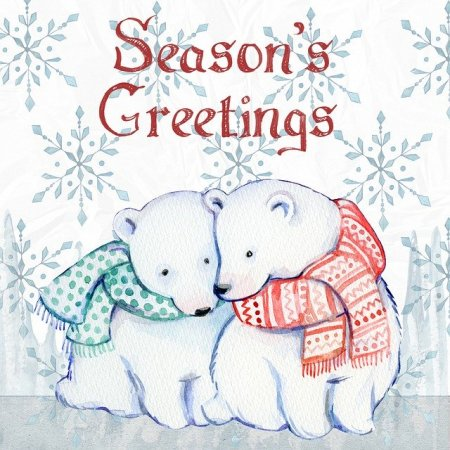 Season's Greetings Christmas card with polar bears