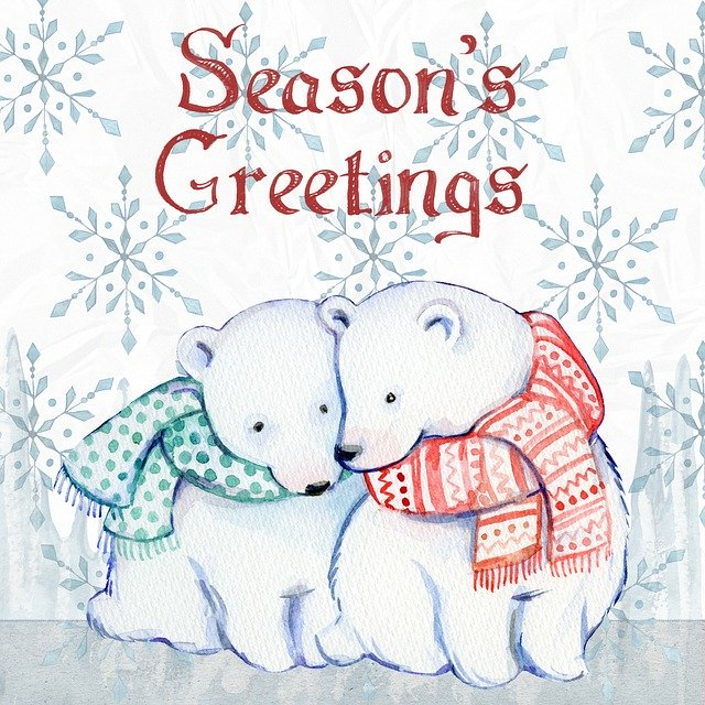 Season's Greetings Christmas card with polar bears