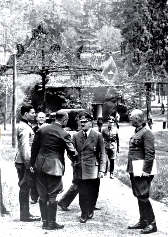 Colonel Claus von Stauffenberg with Adolf Hitler in 1944