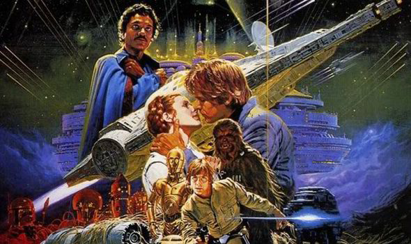 The Star Wars character posing on an Empire Strikes Back poster