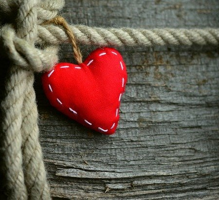 A love heart tied to some rope