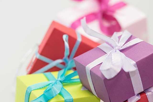 Christmas gifts in multicoloured boxes