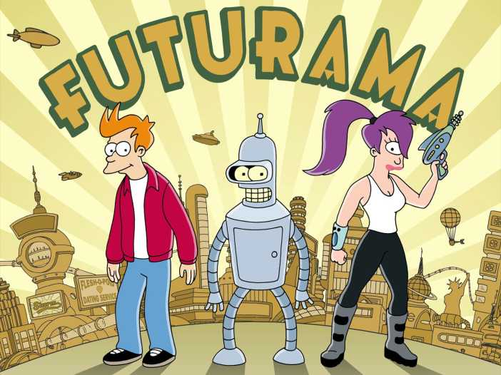 Futurama with Fry, Bender, and Leela