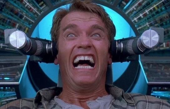 Arnold Schwarzenegger in Total Recall making Arnold noises