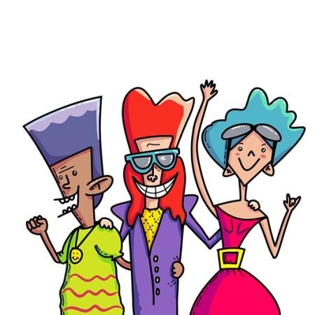 People dancing to 1980s hit singles
