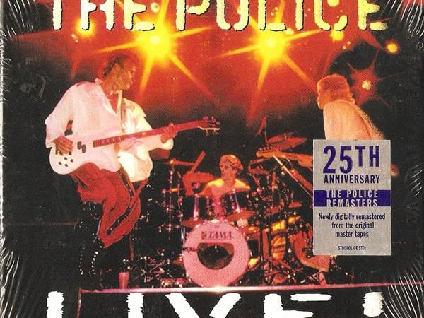 The Police Live album with Sting jumping, Stewart Copeland drumming, and Andy Summers