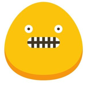 A yellow blob with a vacant expression