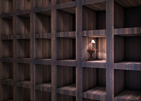 Isolated room with a light on in a grid