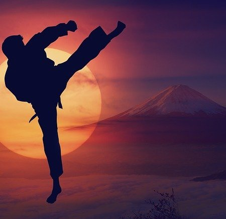 Kiai! A man doing a karate chop with a sunset background