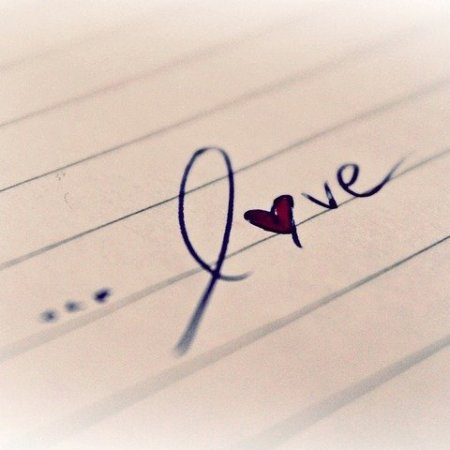 Love with a heart in the place of o