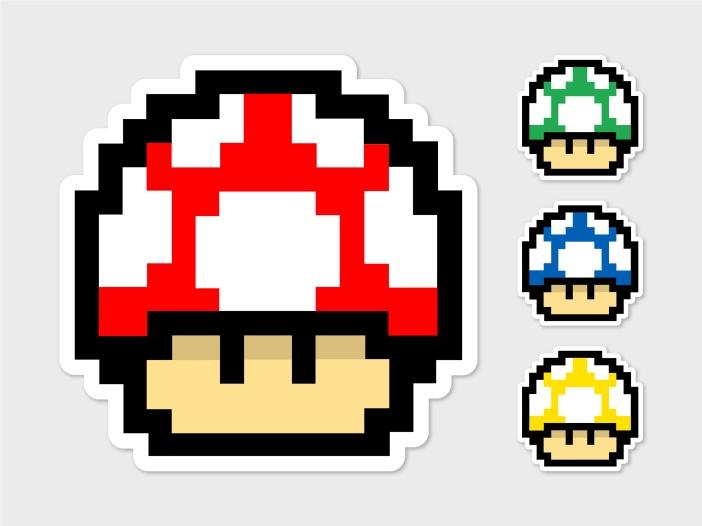 Pixel mushrooms from Nintendo's Super Mario games.
