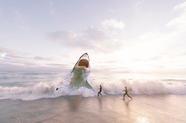 A shark leaping out of the water on a beach near two human runners