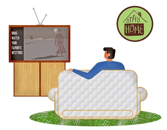 Stay at home - a cartoon man watching westerns on his TV-min