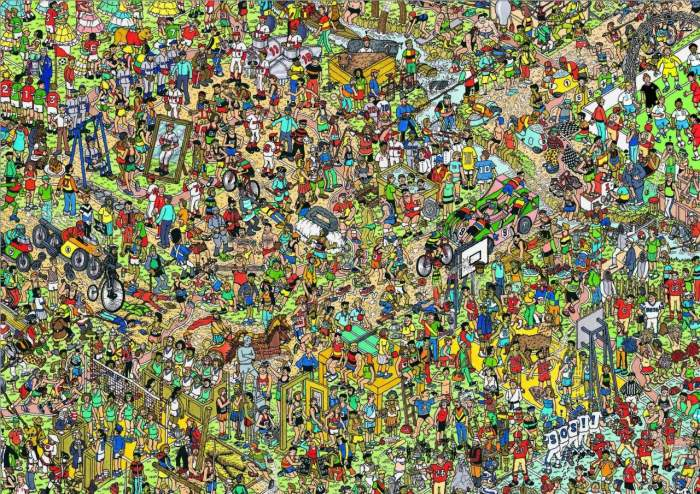 Where's Wally sketch of teeming masses in the wimmelbilderbuch style