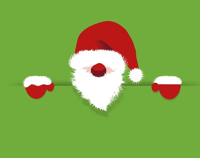 Santa Claus peering over a ledge with a red nose and green background