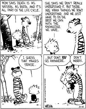 Calvin and Hobbes discuss death