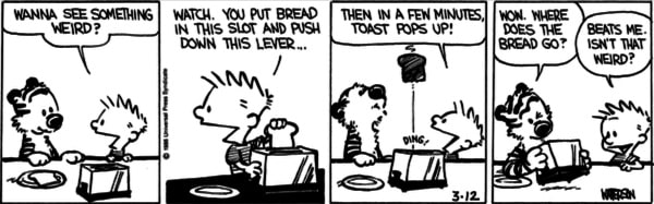 Calvin and Hobbes making toast