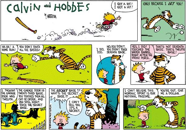 Calvin and Hobbes strip with the two friends playing baseball
