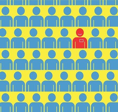 A red employee amongst the blue, to indicate the best job candidate