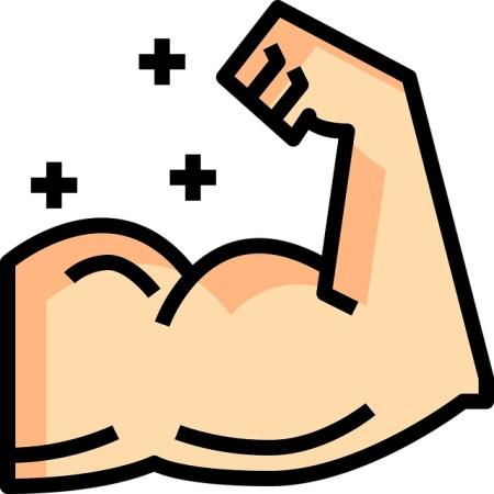 A hypermasculine muscular arm