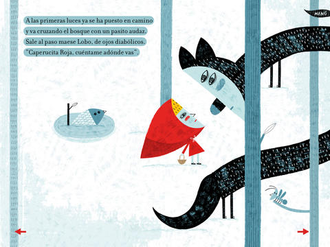 Little Red Riding Hood meets the fox in Caperucita Roja by Paloma Valdivia