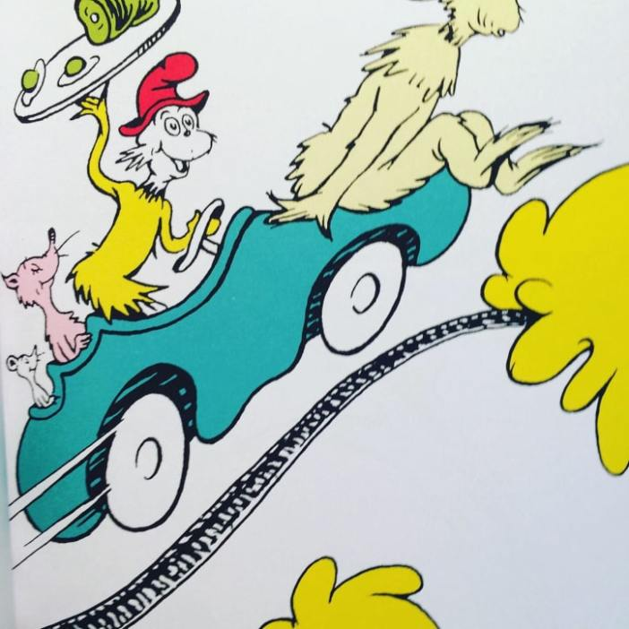 Sam-I-am causing havoc in Green Eggs and Ham by Dr. Seuss