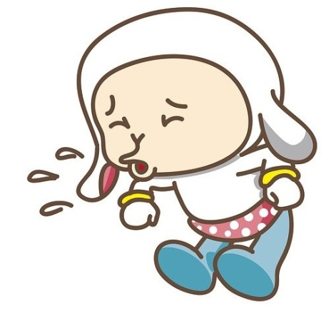 A cartoon baby sneezing because of the common cold.