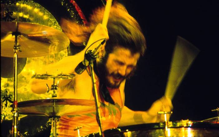 John Bonham playing the drums for Led Zeppelin
