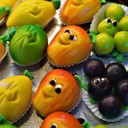 An assortment of fun marzipan shapes for a dessert.