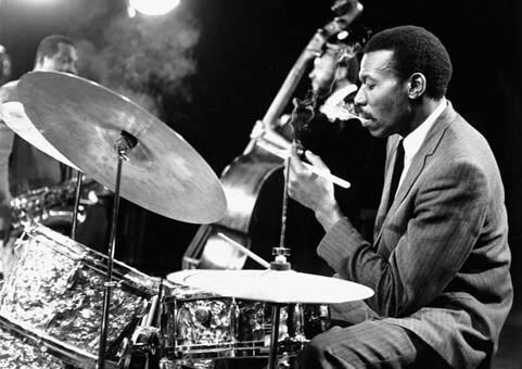 Elvin Jones playing the drums