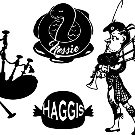 Scottish icons, including haggis