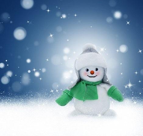 A cartoon snowman in the snow at Christmas