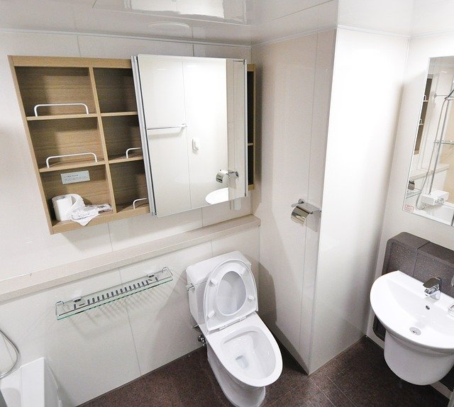A toilet in a modern bathroom