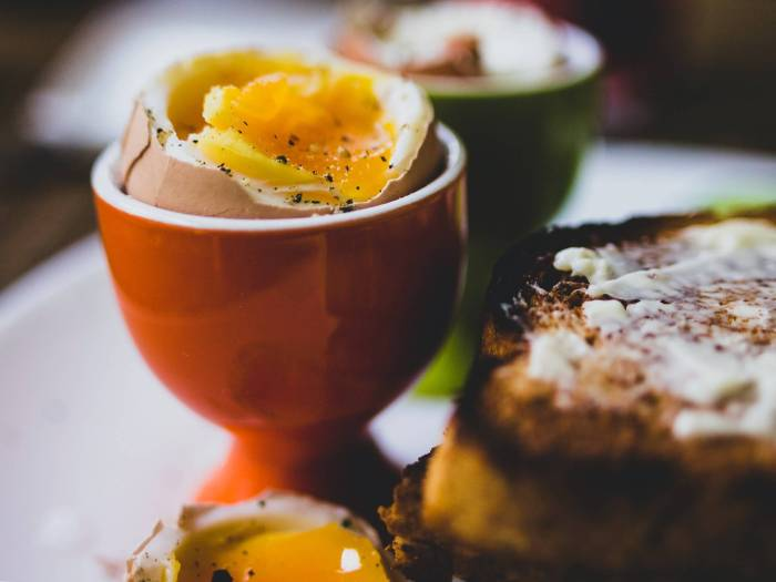 A boiled egg with soldiers.