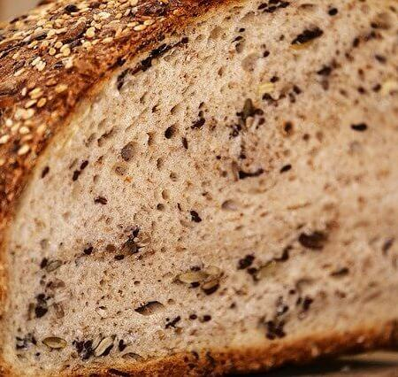 A close up picture of some bread bread.