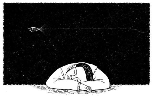 A cartoon person sleeping and dreaming of a fish in the night sky.