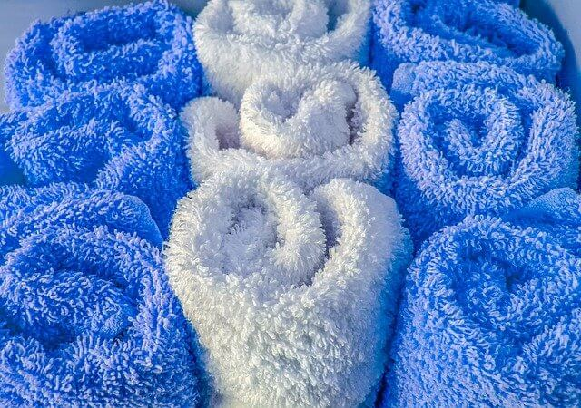 A selection of blue and white towels
