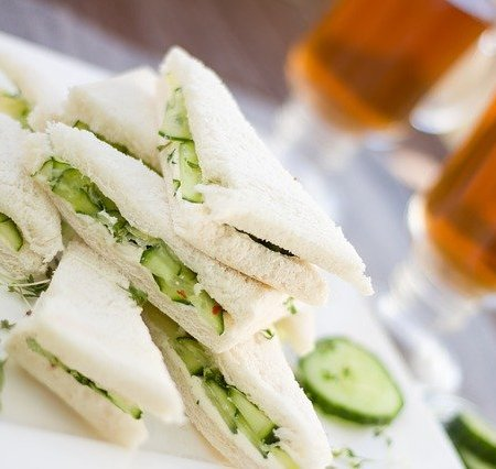 Cucumber sandwich with white bread.
