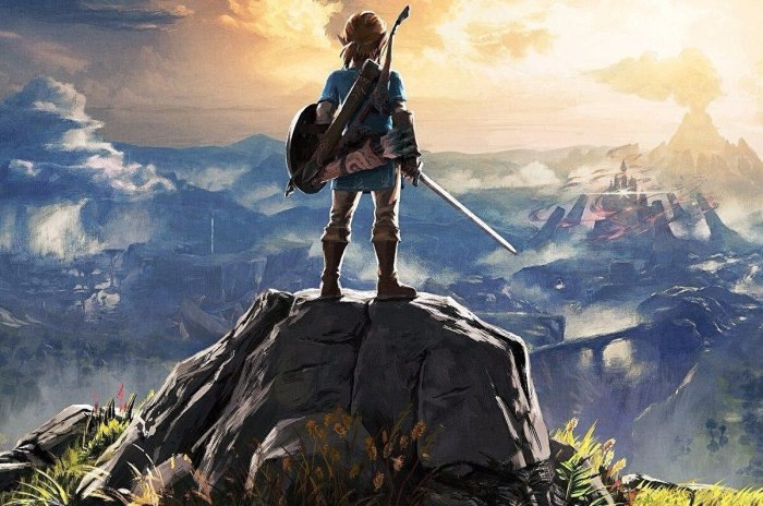 Link standing against the landscape backdrop in The Legend of Zelda: Breath of the Wild.