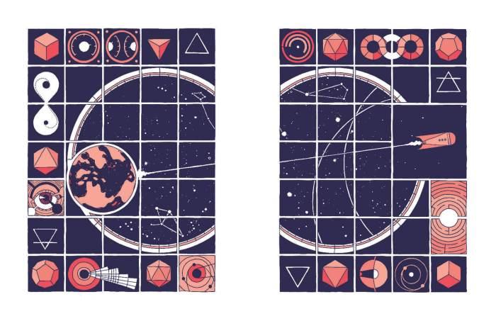 Spaceship scenes from Jesse Lonergan's Hedra.