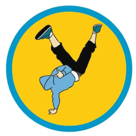A cartoon man performing a handstand