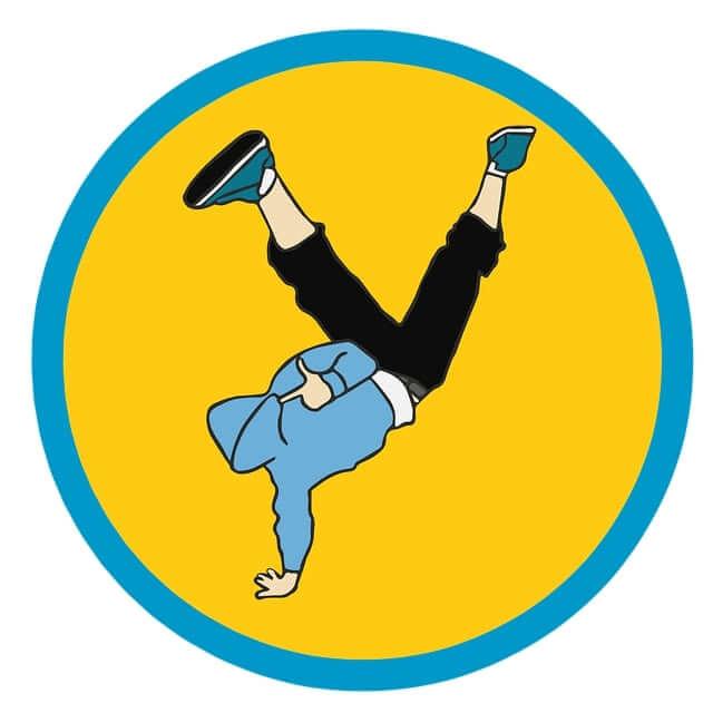 A cartoon man performing a handstand