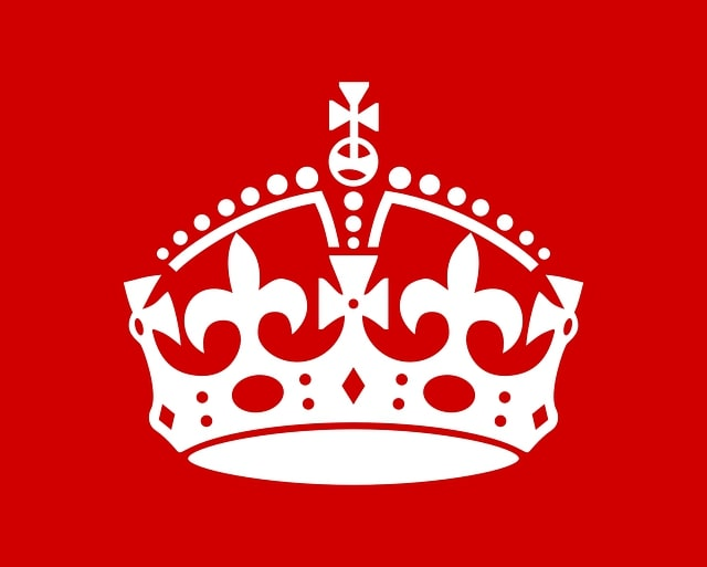 A King's crown set to a red background